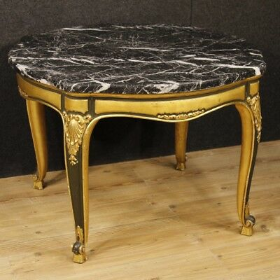 Table Spanish Lacquered Wood Living Room Furniture Golden Marble Antique Style