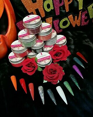 Coloured acrylic powder Halloween Glitterama collection glitter red orange green