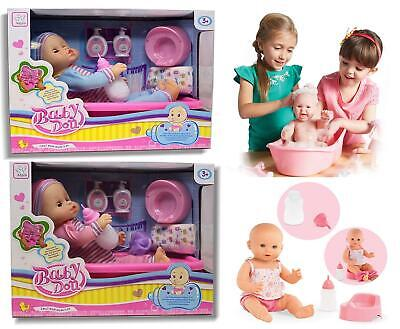 "16"" Newborn Realistic Vinyl Baby Doll Bathtub and Accessories Pretend Playset"