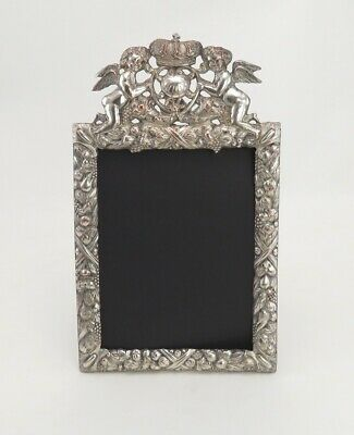 Antique Ornate Rococo Style Silverplate Pedestal/Easel 5 x 7 Picture Frame