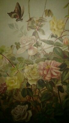 Antique 19thc oil painting still life flowers with butterfly signed M.B 1889