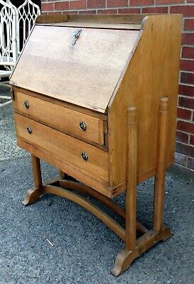 Edwardian antique Arts & Crafts Art Deco Cotswold School solid oak bureau desk