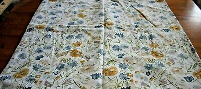 Tablecloth Vintage Yellow Blue Daisies Floral on White Heavy 100% Cotton 58X98