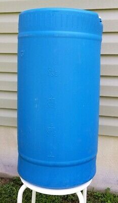 15 gallon blue plastic barrel with handle for hurricane water storage, camping