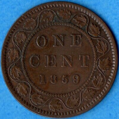Canada 1859 Wide 9/8 1 Cent One Large Cent Coin - Light Corrosion