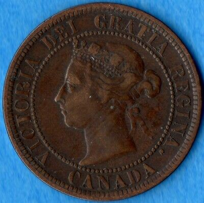Canada 1891 SD LL 1 Cent One Large Cent Coin - F/VF