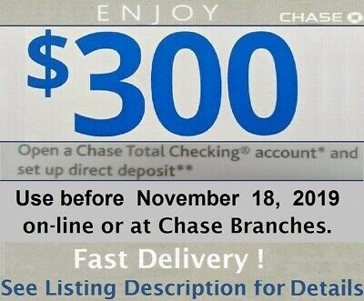 Chase 300 Total Checking Account Bonus Coupon Promotion Code Exp 9/28/19 Card