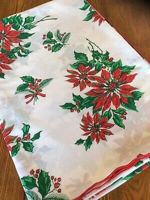 Vintage Colorful White~Red Poinsettias~Holly Pattern CHRISTMAS Tablecloth