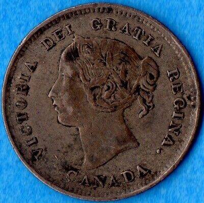 Canada 1891 5 Cents Five Cent Small Silver Coin - VF (corrosion)