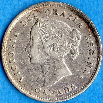 Canada 1891 5 Cents Five Cent Small Silver Coin - Fine