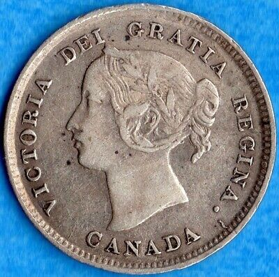 Canada 1893 5 Cents Five Cent Small Silver Coin - Very Fine