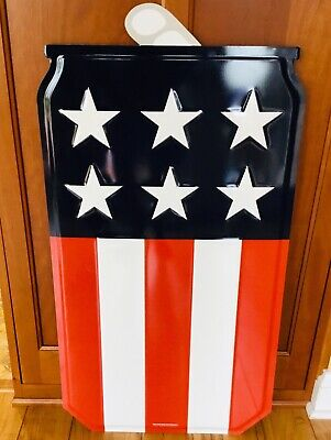 MILLER LITE Stars & Stripes PATRIOTIC Theme BEER CAN METAL BAR SIGN New