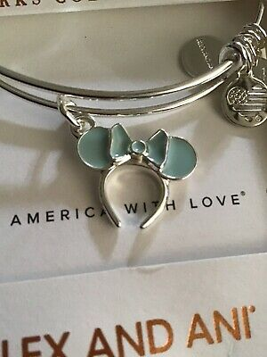Disney Parks Alex & Ani Frozen Arendelle Aqua Blue Minnie EarBangle Bracelet NEW