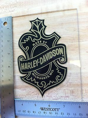 Harley-Davidson Oak Leaf Inside Window Decal. Vintage Harley Sticker.4 X 6.25