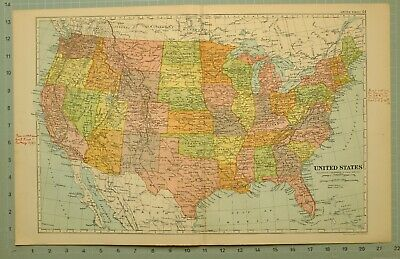 1922 Map United States Texas Kansas Louisiana Arkansas Iowa Minnesota Kentucky
