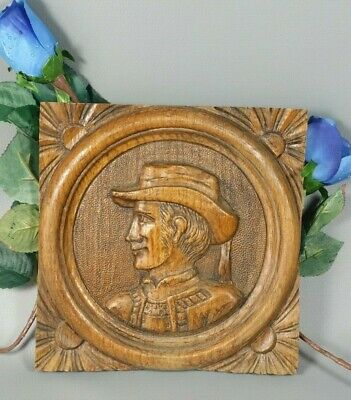 Breton Oak Wood Panel Wall Pediment Hand Carved French Man Salvaged Antique