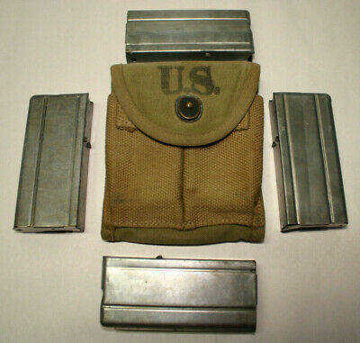 WWII Field Gear 1943 Laird Schober M1 Carbine Stock Pouch + four magazines