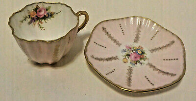 Vintage Marked FOLEY Bone China EB1850 Cup & Saucer Pink Trimmed in Gold