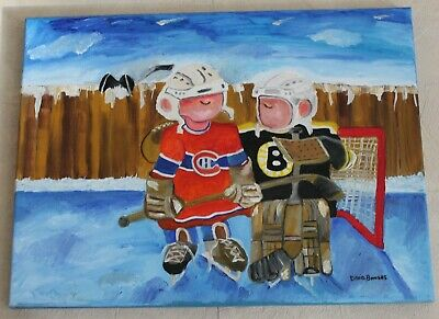 Original Oil Painting of Hockey Players by David Bowers Canadian Artist Signed