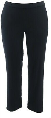 Dennis Basso Soft Touch Pull-On Two Inset Pockets Knit Pants Black L NEW A349302