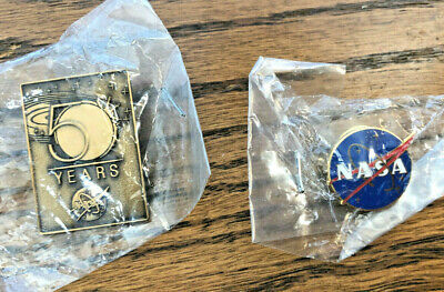 NASA Official Meatball Vector Logo and 50 Years Lapel Pin Enamel -- New Sealed!