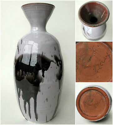 "Blue Mountain Studio Pottery Vase 10"" Grey Black Ghost Glaze Rare Signature Mark"