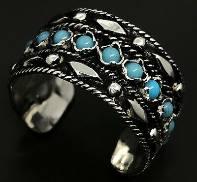 VINTAGE Handmade Oxidized Sterling Silver & Blue Turquoise Adjustable Band Ring