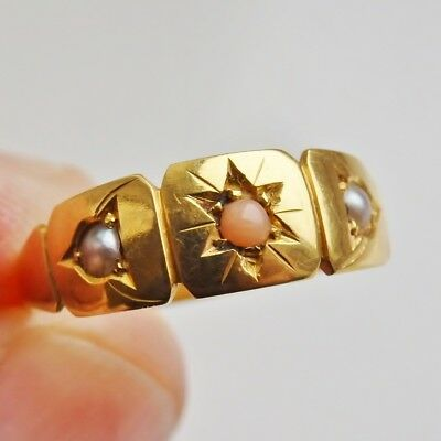 Stunning Antique Victorian 15ct Gold Coral & Pearl Trilogy Ring c1890