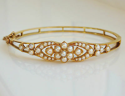 Stunning Antique Victorian 15ct Gold Pearl set Floral Motif Bangle c1895 in Case