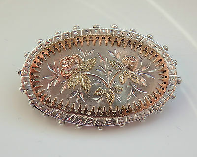 Stunning Antique Victorian Silver & Gold Floral Decorated Brooch c1885