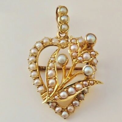 Stunning Antique Victorian 15ct Gold Pearl Heart Shaped Pendant Brooch c1890