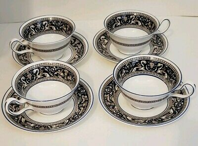 Lot of 4 Wedgwood Bone China FLORENTINE Leigh Cup & Saucer Sets Blue W1956