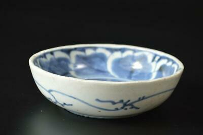 T6755: Japanese Old Imari-ware Blue&White Flower pattern BOWL/dish/Cooking pot
