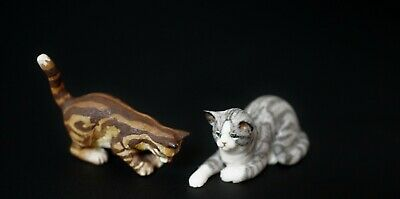Miniature Dollhouse 1:12 Hand Painted Porcelain Cats Signed 1991
