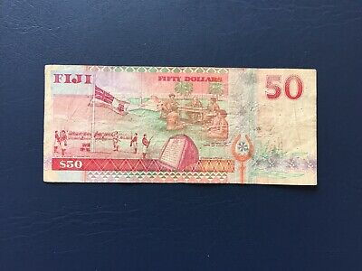 Circulated Fiji 50 Note Depicting Portrait Of Queen Elizabeth The 2nd.