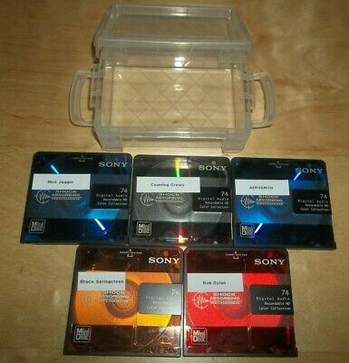 5 SONY Color Collection 74 minute Recorded Minidisc Walkman & Hard Storage Case