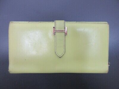 Authentic HERMES Bearn Long Wallet Leather Square I Green Box 74655 B