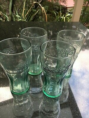 Coca Glasses  x 4  Green Collectable. Used