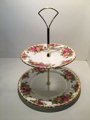Vintage Royal Albert Old Country Roses 2 Tier Cake Stand Made in England 1962