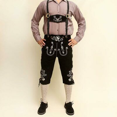 Bavarian Lederhosen Oktoberfest real leather embroidered pants SUEDE BLACK
