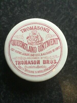 Rare  red print Thomason's Queensland Ointment pot lid