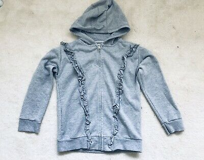 Girls Grey Sparkly Ruffle Zipped Hoody Age 11 Years From Next