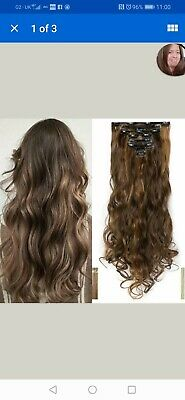 Clip In Full Head Hair Extension 24inch Long Curly Dark&Sandy Brown Wavy 8PCS