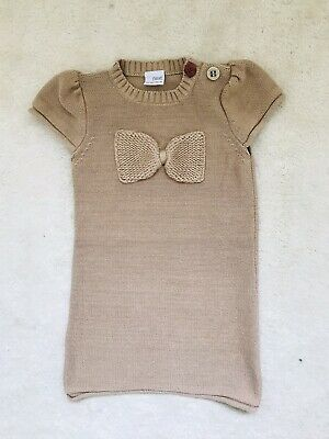 Girls Beige Knitted Short Sleeve Dress Age 5-6 Years From Next