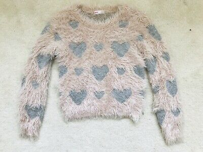 Girls Pink With Silver Stars Fluffy Jumper Age 3-4 Years