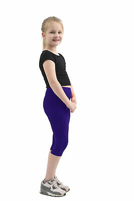 Children Girls kids Plain capri Length Cotton Leggings Party Pants All Ages