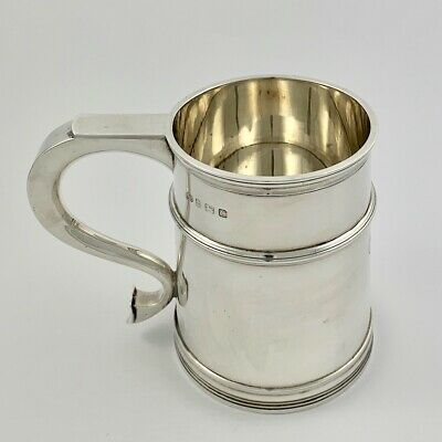 Superb Antique Elkington Sterling Silver Tankard Beer Mug Cup - Birmingham 1927