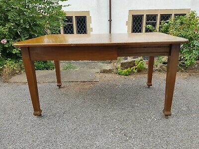 An Antique Victorian Oak Windout Table with Winder in Need of Some Restoration