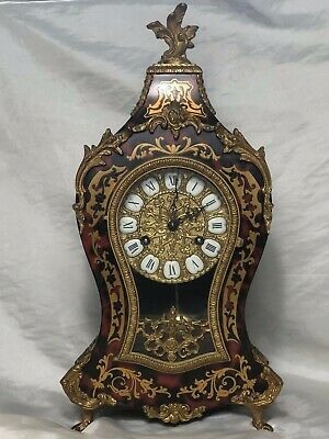 1 Large Antique Louis XVI French Style Gilt Ormolu Boulle Mantle Clock