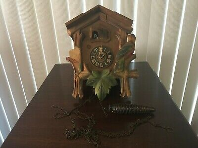 vintage antique wooden cuckoo clock German made for parts or repair.
